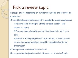 Pick a review topic