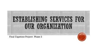 Establishing Services for our organization