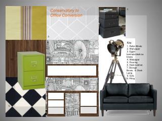 1. Roller Blinds         2. Wall paper         3. Egger laminate/desk/cabinets