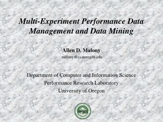 Multi-Experiment Performance Data Management and Data Mining