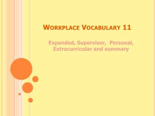 Workplace Vocabulary 11