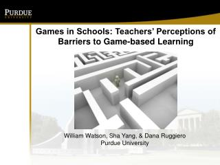 Games in Schools: Teachers' Perceptions of Barriers to Game-based  Learning