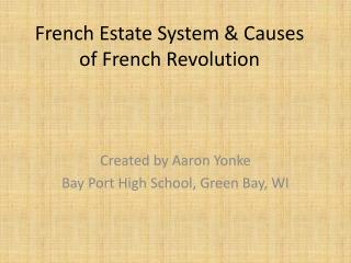 French Estate System & Causes of French Revolution