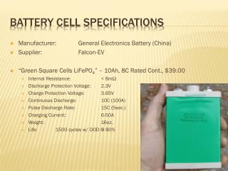 Battery Cell Specifications
