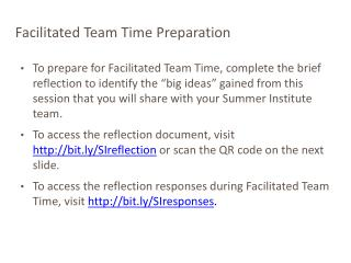 Facilitated Team Time Preparation