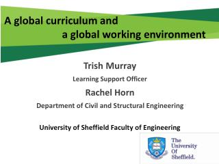 A global curriculum and                        a global working environment