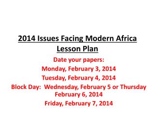 2014 Issues Facing Modern Africa Lesson Plan