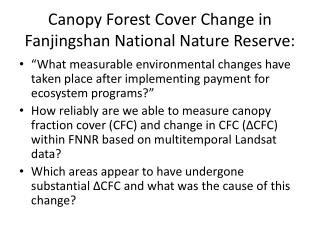 Canopy Forest Cover Change in  Fanjingshan  National Nature Reserve: