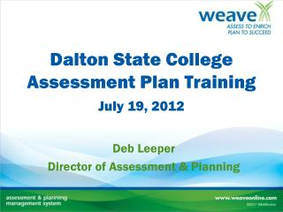 Dalton State College Assessment Plan Training
