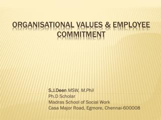 ORGANISATIONAL VALUES & EMPLOYEE COMMITMENT