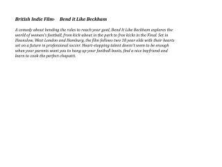 British Indie Film-    Bend it Like Beckham