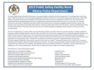 2013 Public Safety Facility Bond Albany Police Department