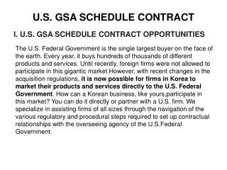 U.S. GSA SCHEDULE CONTRACT