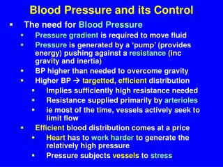 Blood Pressure and its Control