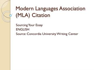 Modern Languages Association (MLA) Citation
