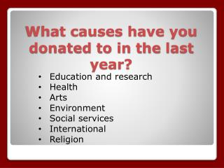 What causes have you donated to in the  last year?