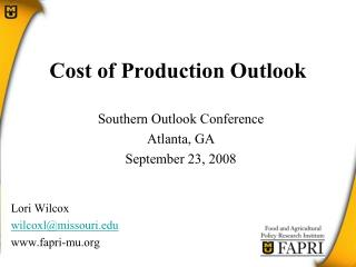 Cost of Production Outlook