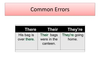 Common Errors