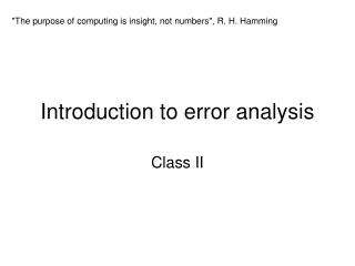 Introduction to error analysis