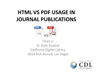 HTML VS PDF USAGE IN JOURNAL PUBLICATIONS