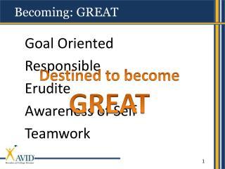 Goal Oriented Responsible Erudite Awareness of Self Teamwork