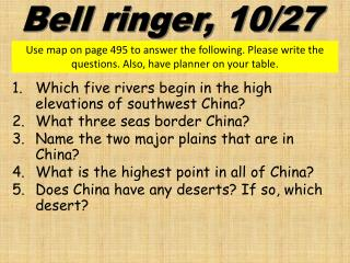 Which five rivers begin in the high elevations of southwest China?  What three seas border China?