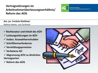 Vertragsstörungen  im Arbeitnehmerüberlassungsverhältnis/   Reform  des AÜG