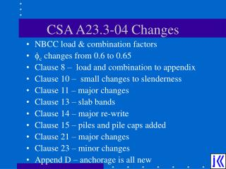 CSA A23.3-04 Changes