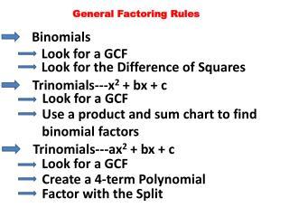 General Factoring Rules
