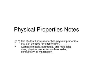 Physical Properties Notes