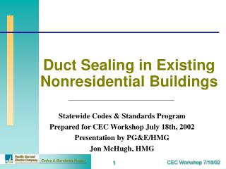Duct Sealing in Existing Nonresidential Buildings