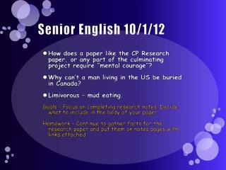 Senior English 10/1/12