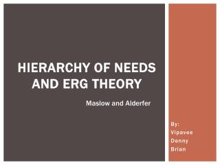 Hierarchy  of Needs and ERG Theory