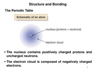 The nucleus contains positively charged protons and uncharged neutrons. The electron cloud is composed of negatively cha
