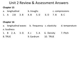 Unit 2 Review & Assessment Answers