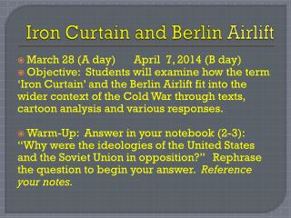 Iron Curtain and Berlin  Airlift