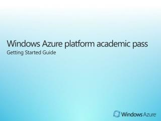 Windows Azure platform academic pass