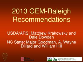2013 GEM-Raleigh Recommendations