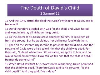 The Death of David's Child 2 Samuel 12