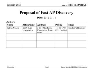 Proposal of Fast AP Discovery
