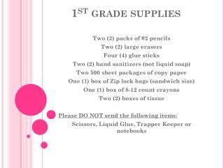 1 st  grade supplies
