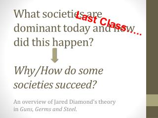What societies are dominant today and how did this happen?  Why /How do some societies succeed ?