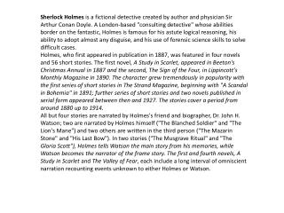 Biography of sir Arthur Conan Doyle