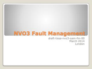 NVO3 Fault Management