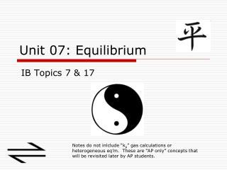 Unit 07: Equilibrium