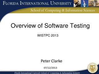 Overview of Software Testing
