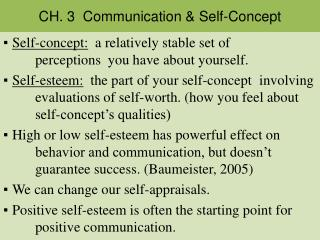 CH. 3  Communication & Self-Concept