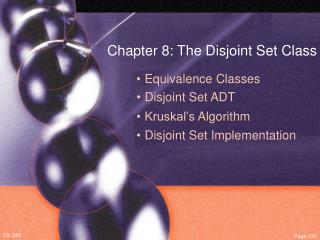 Chapter 8: The Disjoint Set Class