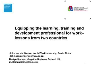 Equipping the learning, training and development professional for work– lessons from two countries