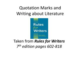 Quotation Marks and  Writing about Literature
